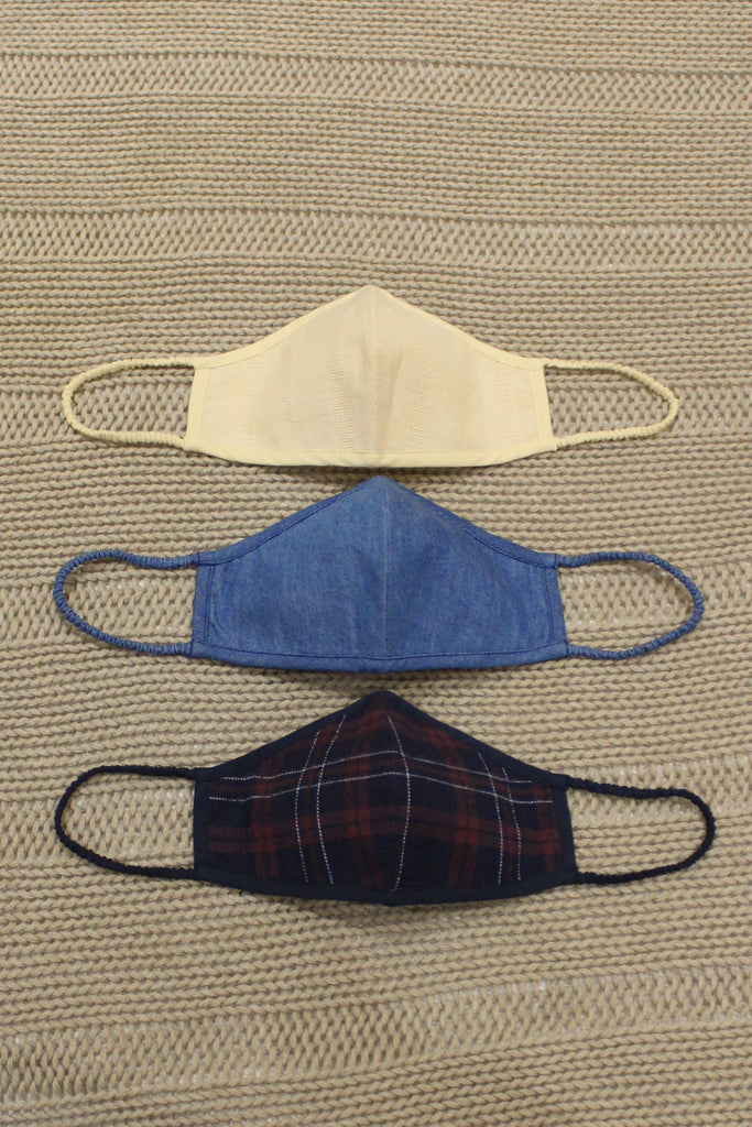 Set of 3 Valentine masks - Denim combo