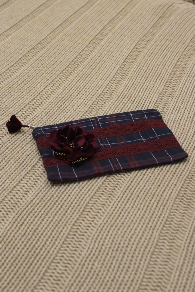 Veda Pencil Case - Wine Checks