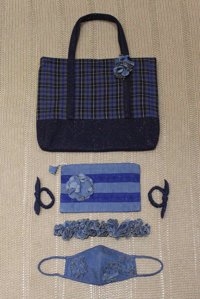 Set of Cabas Bag/Pouch/Mask/Hair Accessories - Blue Checks