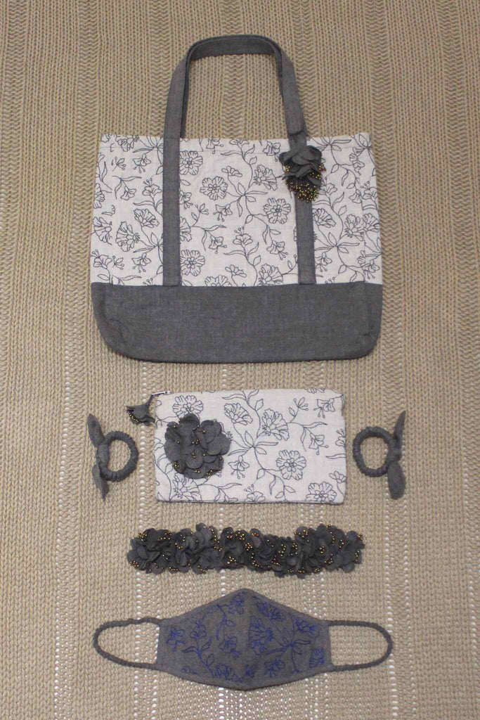 Set of Cabas Bag/Pouch/Mask/Hair Accessories - Abalone Bouquet Blue
