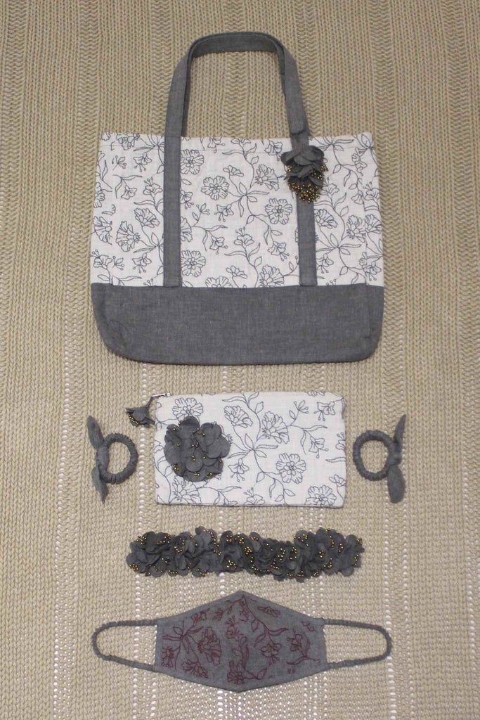 Set of Cabas Bag/Pouch/Mask/Hair Accessories - Abalone Bouquet Wine