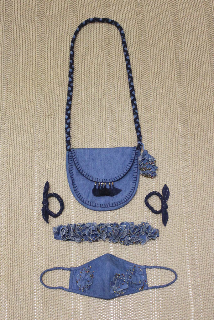 Set of Crossbody Bag/Mask/Hair Accessories - Medium Blue