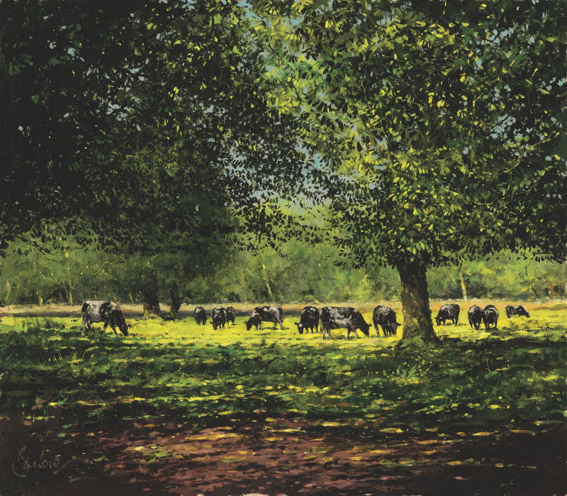 Summer Landscape With Cattle - Paper 25 x 30cm