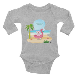 Baby Body - Baby Long Sleeve Body - Joy Flamingo Beach - Philippians 4:1