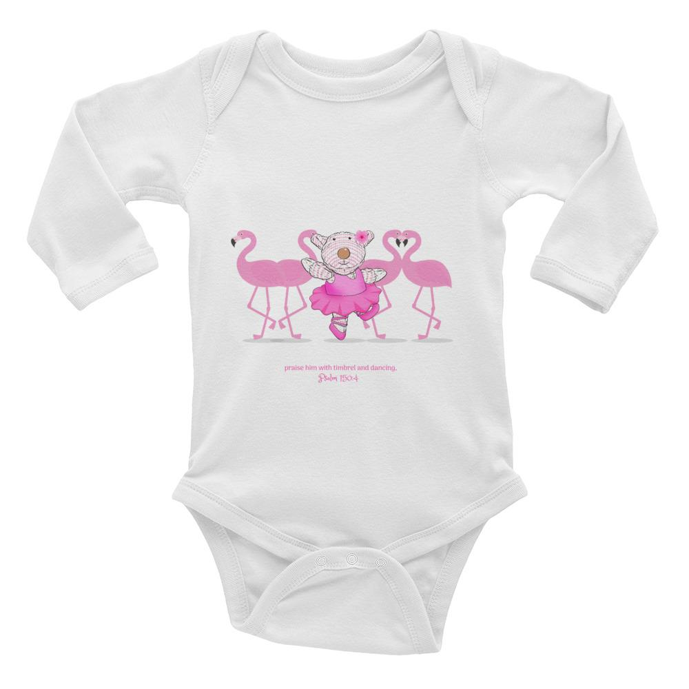 Baby Body Long Sleeve - Baby Body Long Sleeve - Joy Ballerina Flamingos - Psalm 150:4