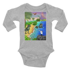 Baby Body Long Sleeve - Baby Long Sleeve Body - Joseph & Dinosaurs - Genesis 1:1