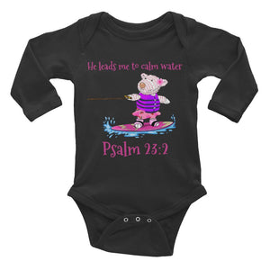 Baby Body Long Sleeve - Long Sleeve Bodysuit - Joy Wakeboard - Psalm 23:2