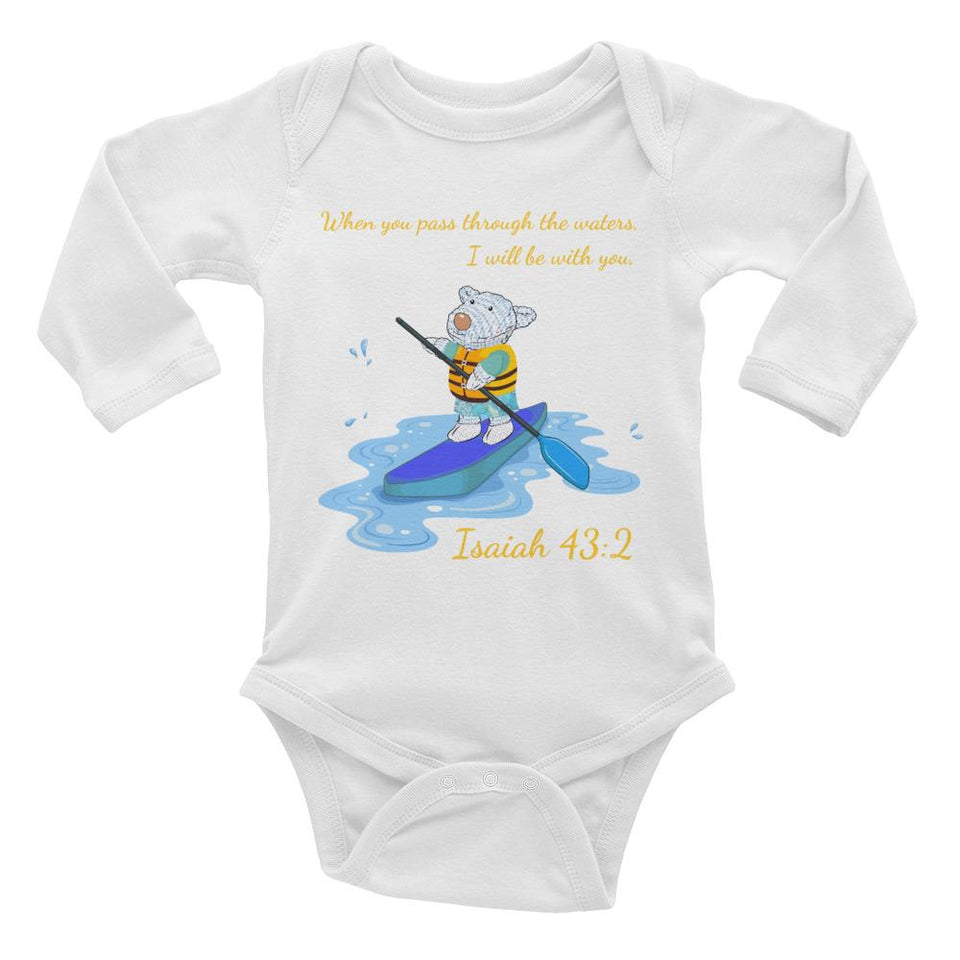 Baby T-Shirt - Baby Body Long Sleeve - Joseph Paddleboard - Isaiah 43:2