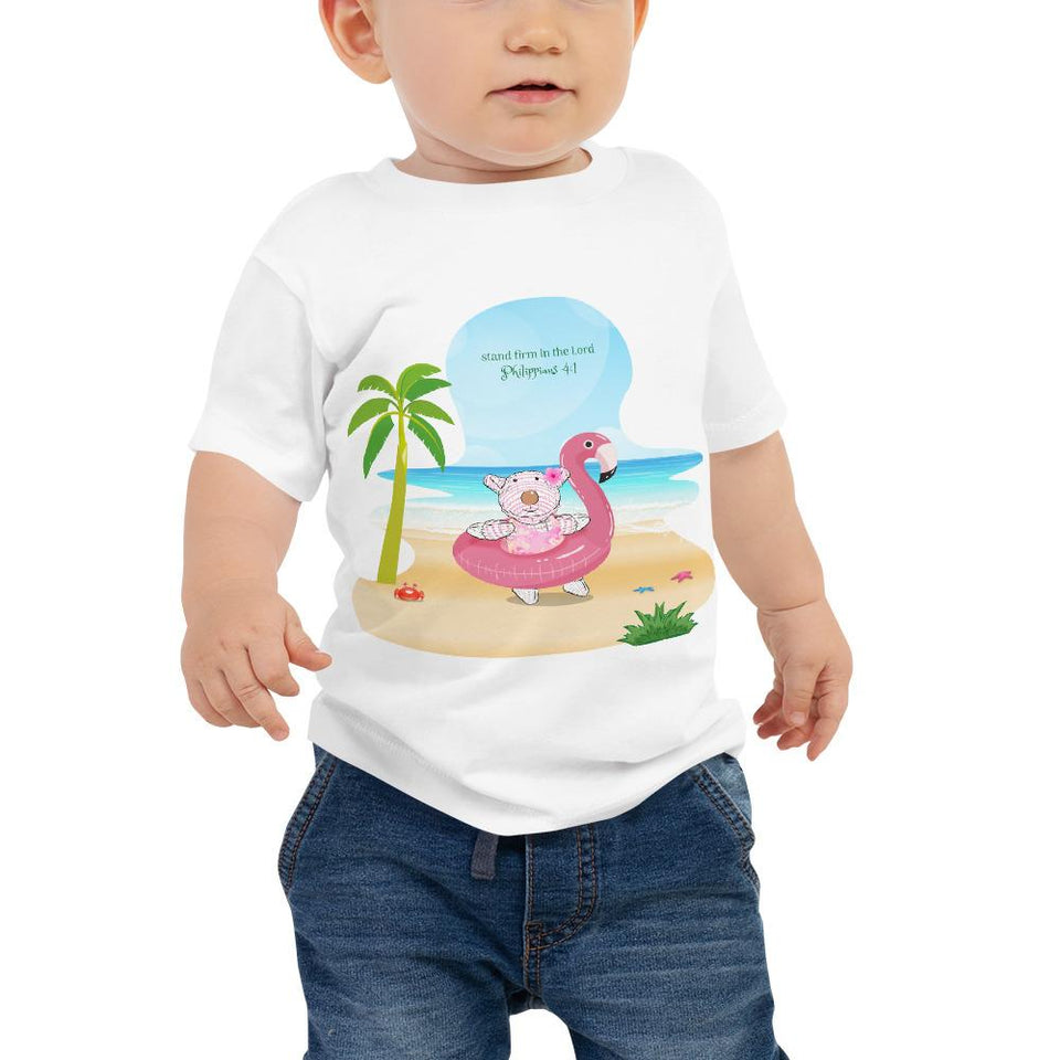 Baby T-Shirt - Baby T-Shirt - Joy Flamingo Beach - Philippians 4:1