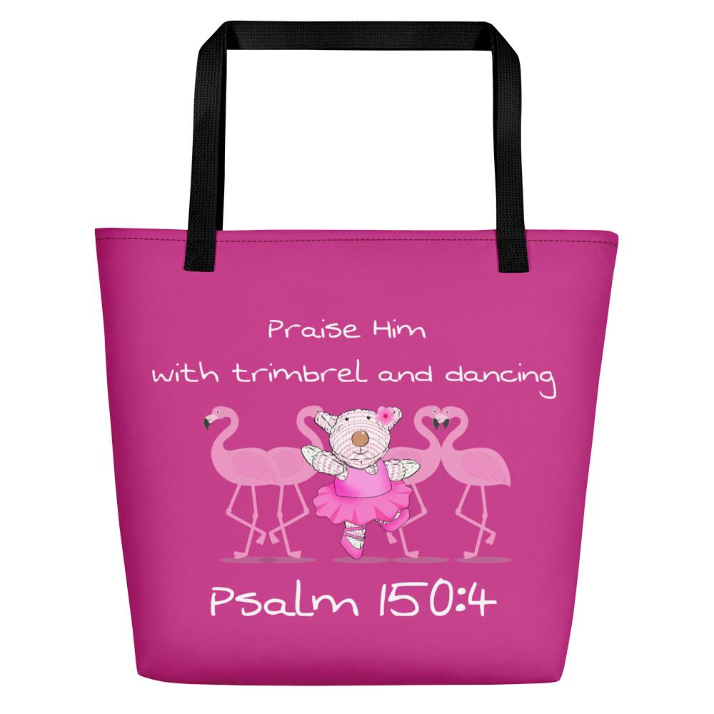 Beach Bag - Bag -  Joy Ballerina Flamingos - Psalm 150:4