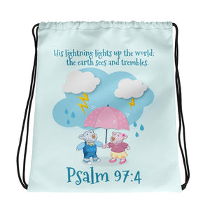 Drawstring Bag - Aqua Drawstring Bag - Joy & Joseph Lightning - Psalm 37:4