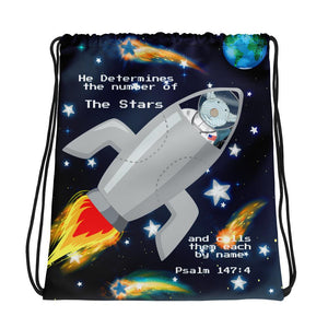 Drawstring Bag - Drawstring Bag - Joseph SpaceShip - The Stars - Psalm 147:4