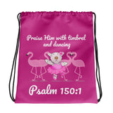 Drawstring Bag - Drawstring Bag -  Joy Ballerina & Flamingos - Psalm 150:4