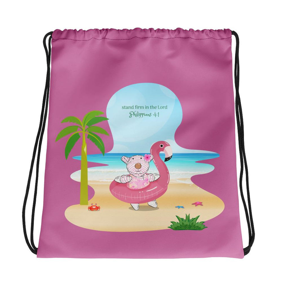 Drawstring Bag - Drawstring Bag - Joy Flamingo Beach - Philippians 4:1