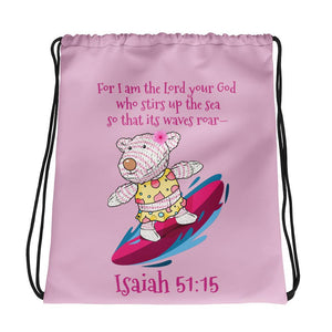 Drawstring Bag - Drawstring Bag - Joy Surfer - Isaiah 51:15