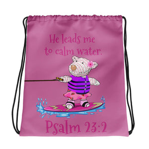 Drawstring Bag - Drawstring Bag - Joy Wakeboard - Psalm 23:2