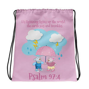 Drawstring Bag - Rose Drawstring Bag - Joy & Joseph Lightning - Psalm 97:4