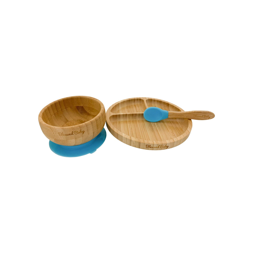 Feeding Set - Bamboo Feeding Set - Blue - Blessed Baby