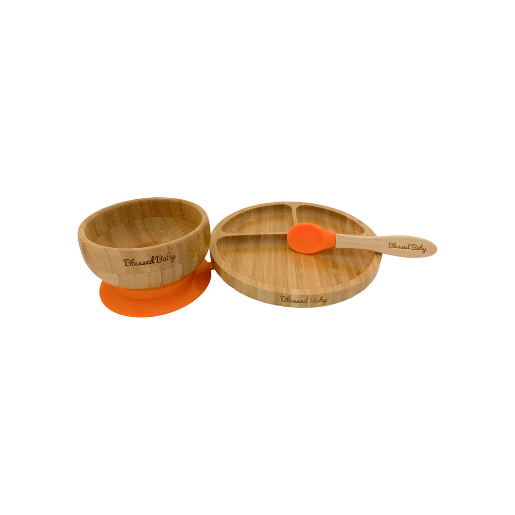 Feeding Set - Bamboo Feeding Set - Orange - Blessed Baby