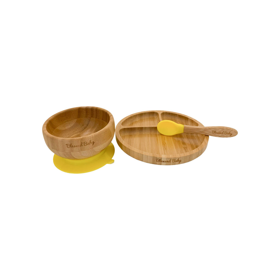 Feeding Set - Bamboo Feeding Set - Yellow - Blessed Baby