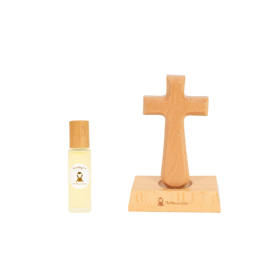 Gift Set - Prayer Gift Set - Anointing Oil And Wood Cross