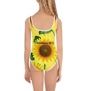 Girls Swimming - Girl's Swimming Wear - Joy Sunflower - 1 Corinthians 16:13