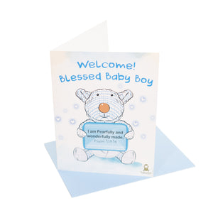 "Greeting_card - Handwritten ""Blessed Baby Boy"" Greeting Card - Joseph Card"