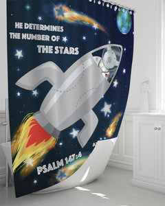 "Home Goods - Spaceship Joseph Shower Curtain 72""x72"""