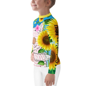 Kids Rash - Girl's Rash Guard - Joy Sunflower - 1 Corinthians 16:13