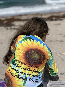 Kids Rash - Girl's Rash Guard - Joy Sunflowers - 1 Corinthians 16:13