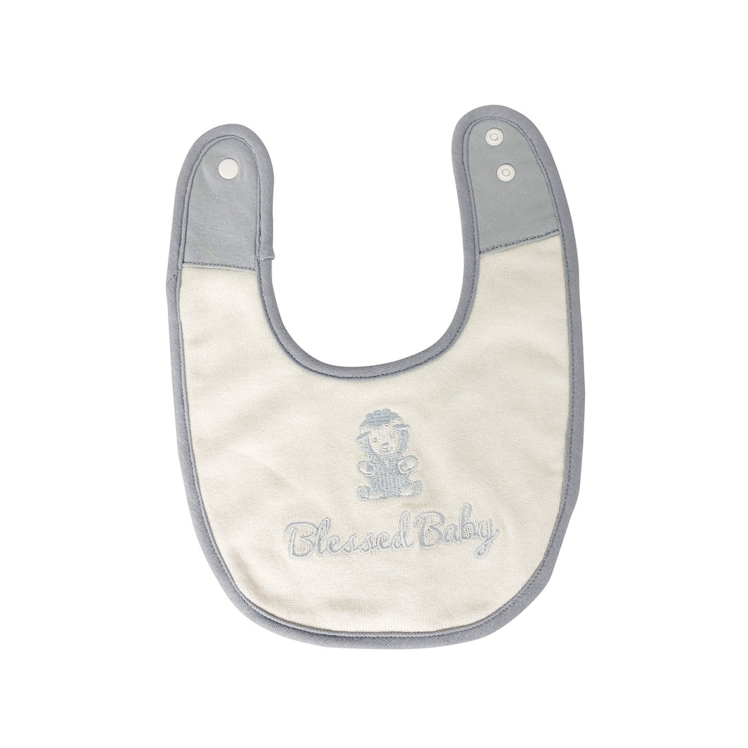 Knitted Bib - Blessed Baby Knitted Bib - Blue