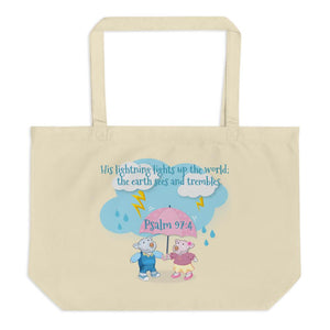 Organic Tote Bag - Large Organic Bag - Joy & Joseph Lightning - Psalm 97:4