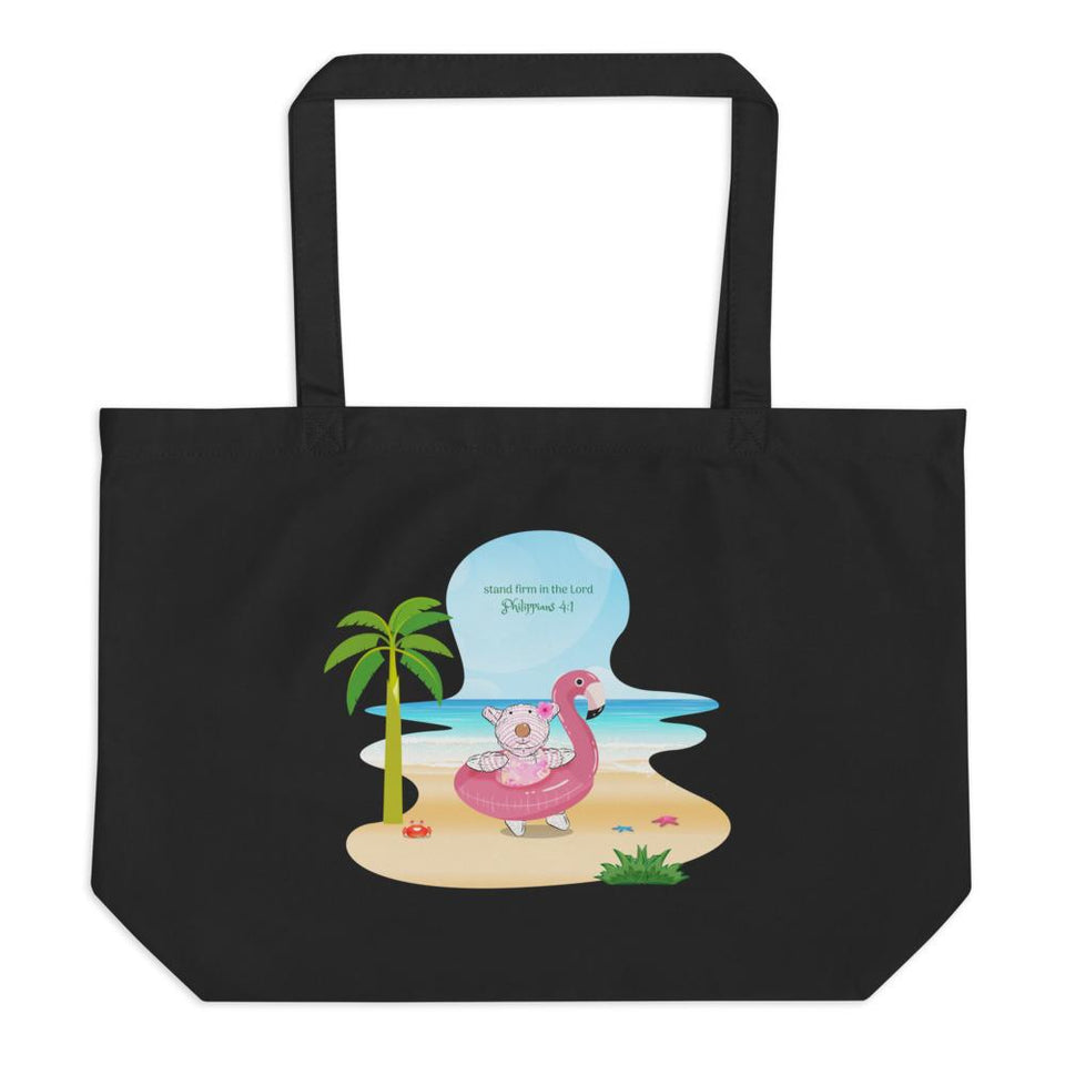 Organic Tote Bag - Large Organic Tote Bag - Joy Flamingo Beach - Philippians 4:1