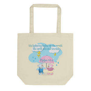 Organic Tote Bag - Small Organic Bag - Joy & Joseph Lightning - Psalm 97:4