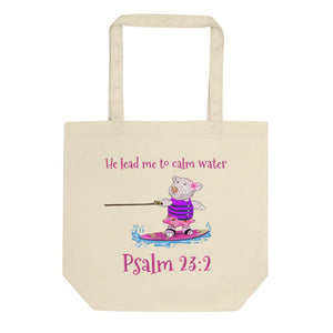 Organic Tote Bag - Small Organic Bag - Joy Wakeboard - Psalm 23:2