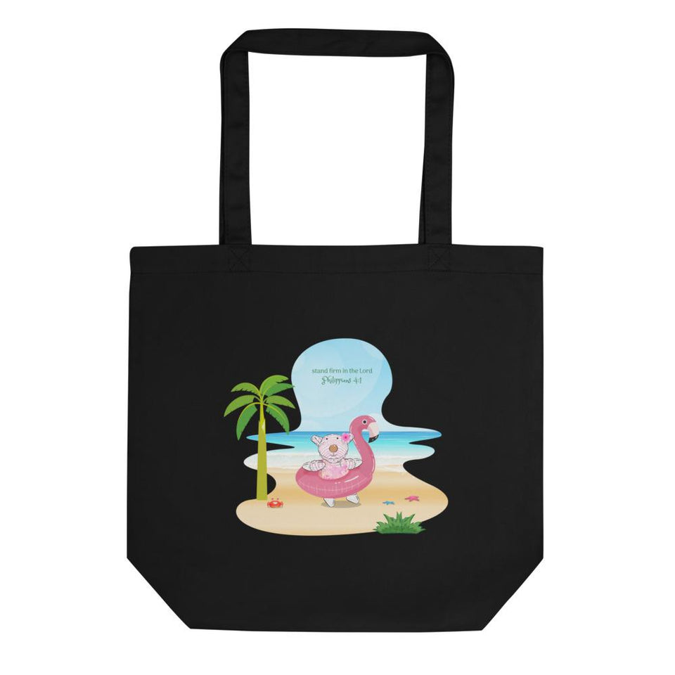 Organic Tote Bag - Small Organic Tote Bag - Joy Flamingo Beach - Philippians 4:1