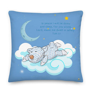 Pillow - Blue Pillow Peaceful Sleep Joseph - Psalm 4:8