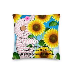 Pillow - Premium Pillow - Joy Sunflower - 1 Corinthians 16:13