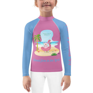 Rash Guard - Kids Rash Guard - Joy Flamingo Beach - Philippians 4:1