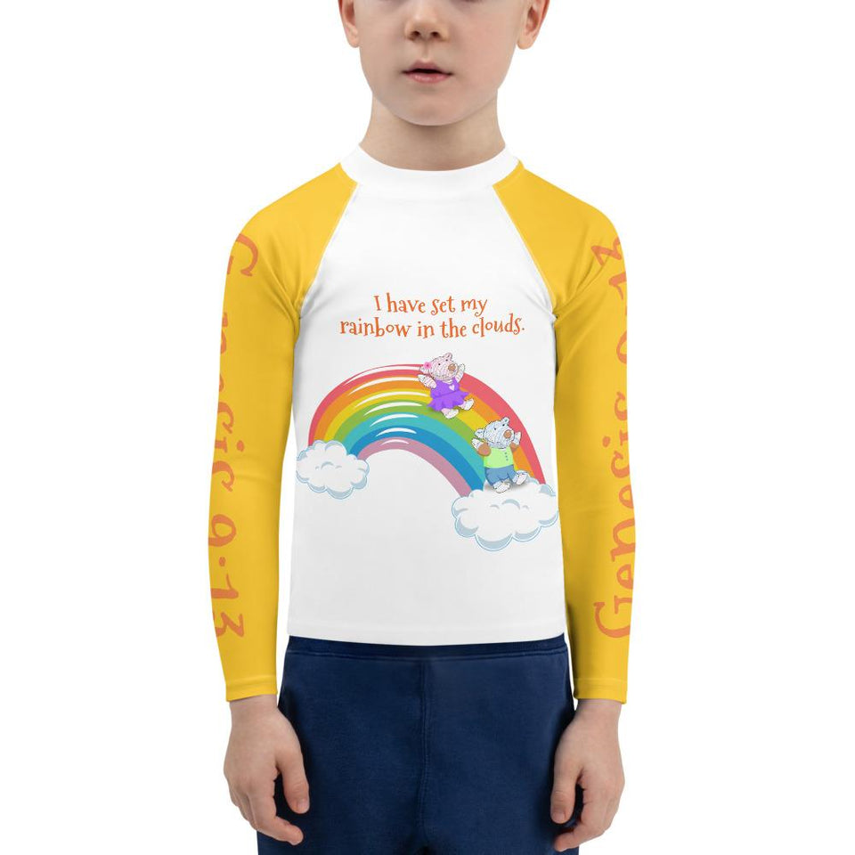 Rash Guard - Kids Rash Guard - Joy & Joseph Rainbow - Genesis 9:13
