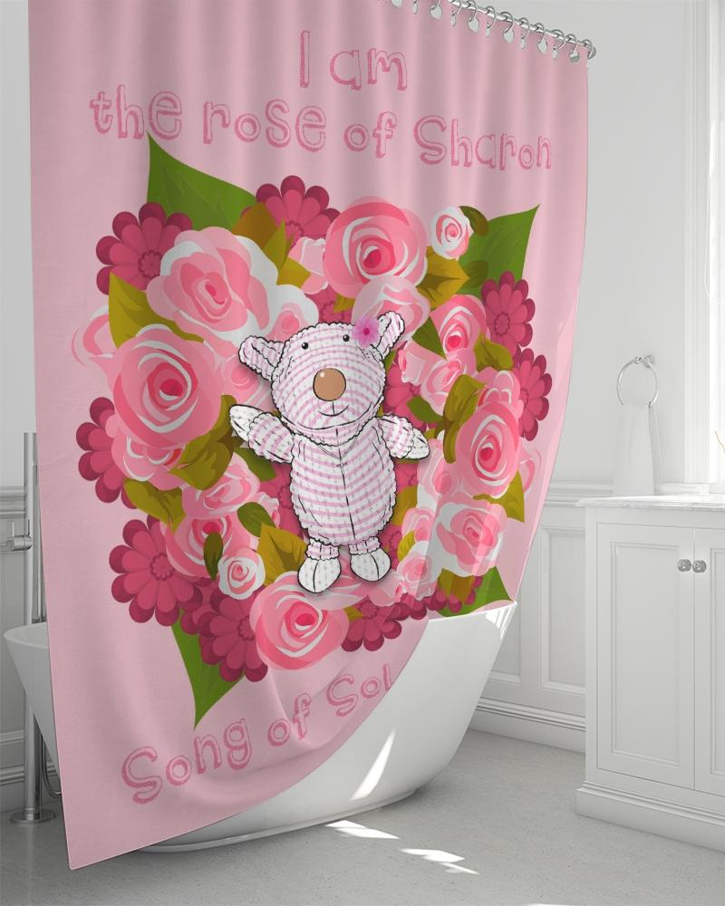 Shower - Shower Curtain - Joy Roses - Song Of Solomon 2:1 - Pink