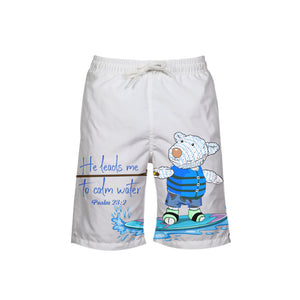 Swimming Shorts - Boy's Swim Trunk - Wakeboard Joseph - Psalm 23:2