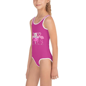 Swimsuit - Girls Swimsuit -  Joy Ballerina Flamingos - Psalm 150:4