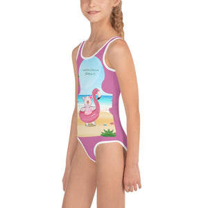 Swimsuit - Girls Swimsuit - Joy Flamingo Beach - Philippians 4:1