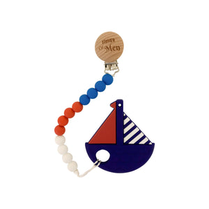 Teether - Silicone Baby Teether W/ Clip - Blue Boat - Fisher Of Men