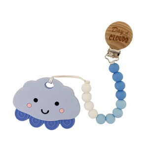 Teether - Silicone Baby Teether W/ Clip -Blue Cloud - Day Of Clouds
