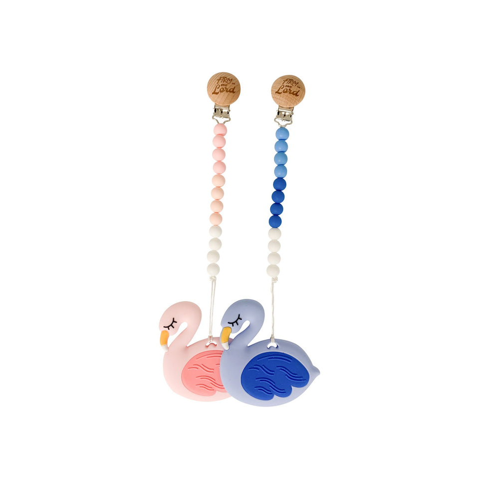 Teether - Silicone Baby Teether W/ Clip - Blue Flamingo - Firm In The Lord