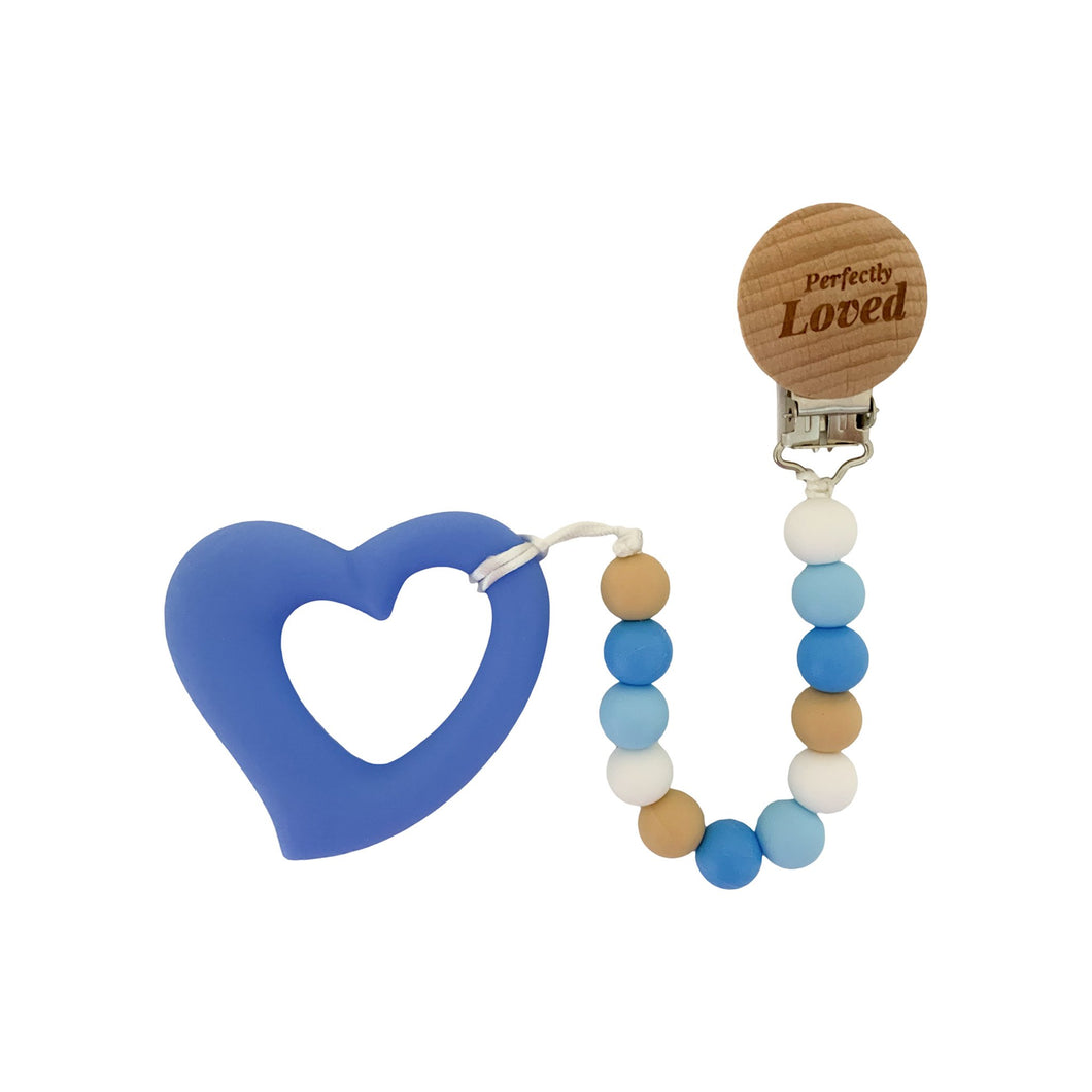 Teether - Silicone Baby Teether W/ Clip - Blue Heart - Perfectly Loved