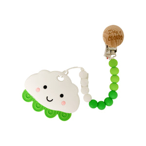Teether - Silicone Baby Teether W/ Clip - Green Cloud - Day Of Clouds