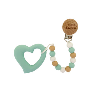 Teether - Silicone Baby Teether W/ Clip - Green Heart - Perfectly Loved